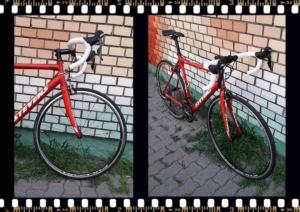 Stevens San Remo piros országúti kerékpár elől
