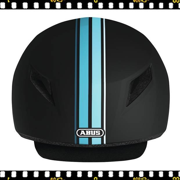 abus yadd-i kerékpáros fekete bukósisak kék csíkokkal elől