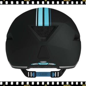 abus yadd-i kerékpáros fekete bukósisak kék csíkokkal hátul
