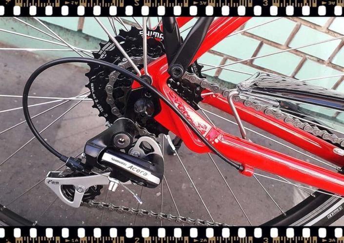 stevens albis forma piros női trekking kerékpár hátsó váltó