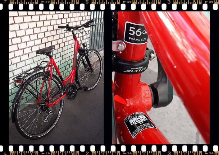 stevens albis forma piros női trekking kerékpár váz méret