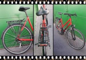 stevens albis piros női trekking kerékpár csomagtartó