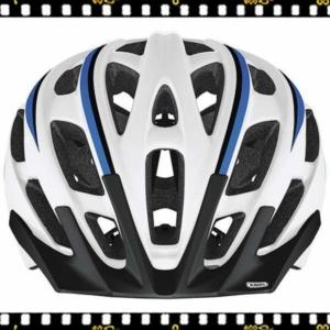 abus s-force pro fehér-kék kerékpáros bukósisak elöl