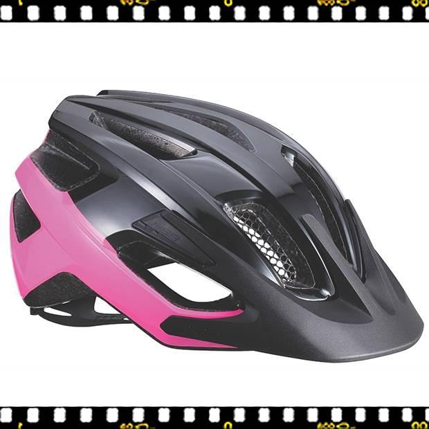 bbb kite bhe-29 fekete pink kerékpáros bukósisak napellenzővel