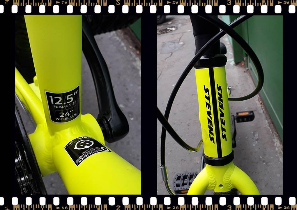 stevens beat mtb junior kerékpár sárga váz méret