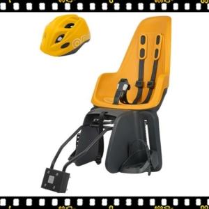 bobike one maxi hátsó kerékpáros gyerekülés mustársárga sisakkal