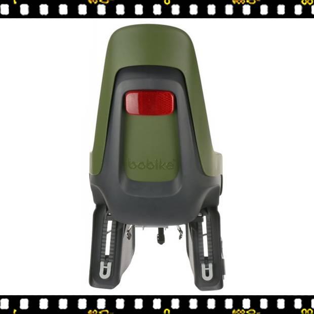 bobike one maxi hátsó kerékpáros gyerekülés oliva zöld hátulról