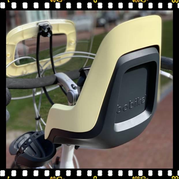 bobike go mini sárga biciklis gyerekülés előre használatban