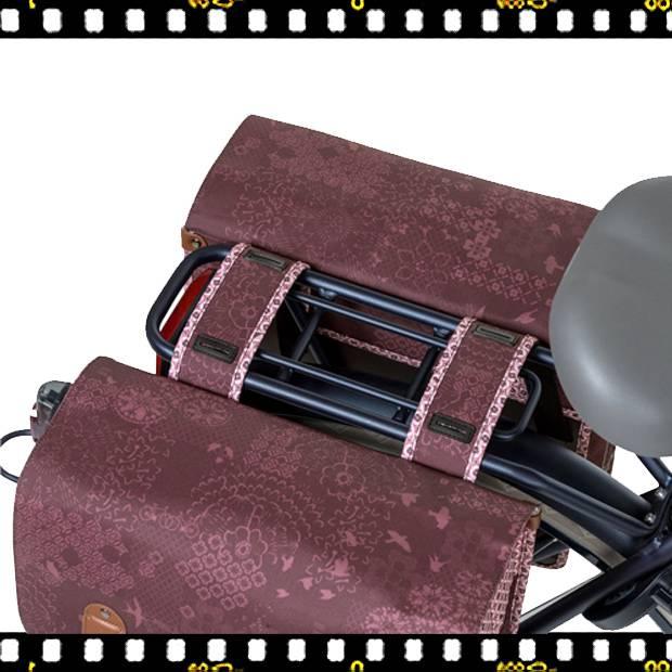basil boheme dupla bicikli táska bordó csomagtartón