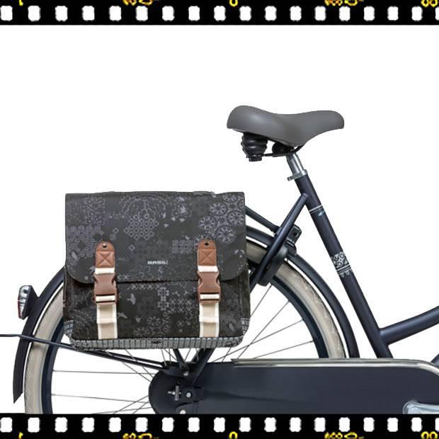 basil boheme dupla bicikli táska fekete biciklin