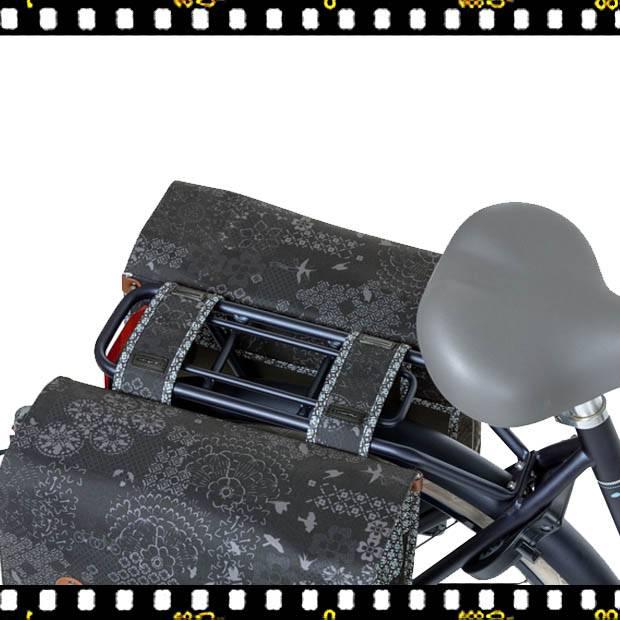 basil boheme dupla bicikli táska fekete csomagtartón