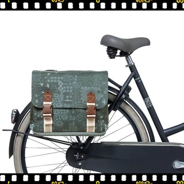 basil boheme dupla bicikli táska zöld biciklin