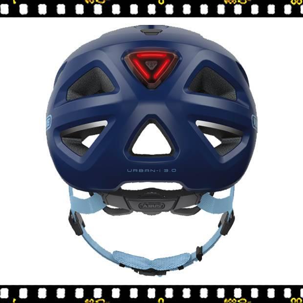 abus urban kék biciklis bukósisak hátul