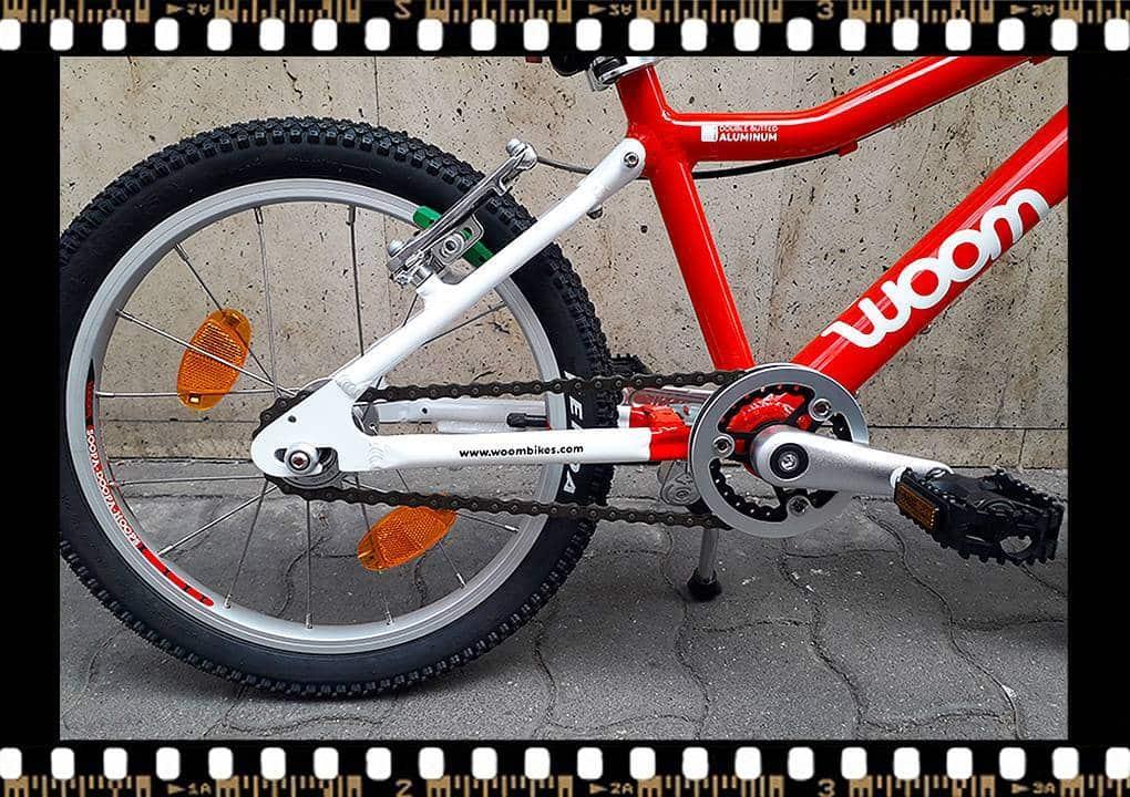 woom 3 piros 16-os alu vázas gyerek bicikli hajtómű