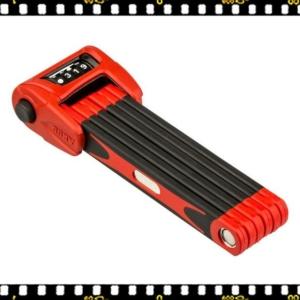 abus bordo combo 6100/90 cm-es kerékpár lakat piros számkódos, hajtogatható