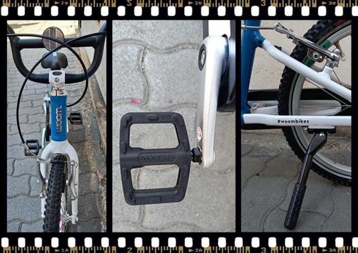 woom3 16-os méretű kék gyerek bicikli pedál