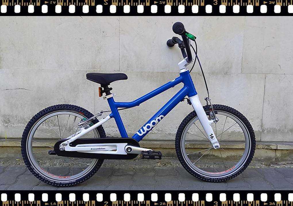 woom3 16-os méretű kék gyerek bicikli