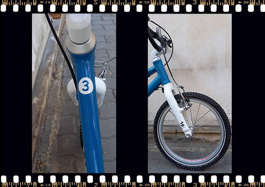 woom3 16-os méretű kék gyerek bicikli váz méret