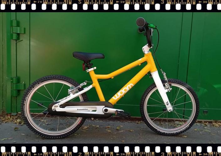 woom 3 sárga 16-os gyerek bicikli bringangyal