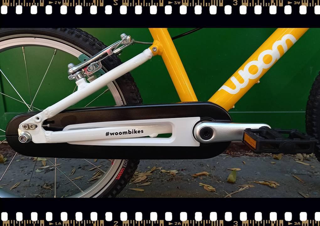 woom 3 sárga 16-os gyerek bicikli hajtómű