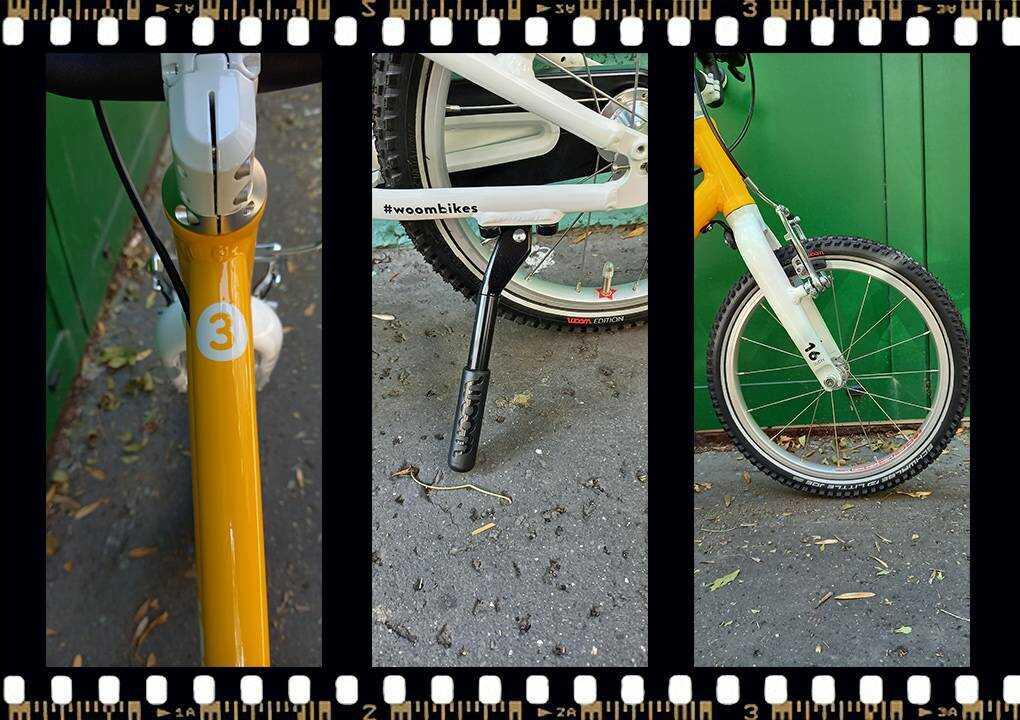 woom 3 sárga 16-os gyerek bicikli kitámasztó