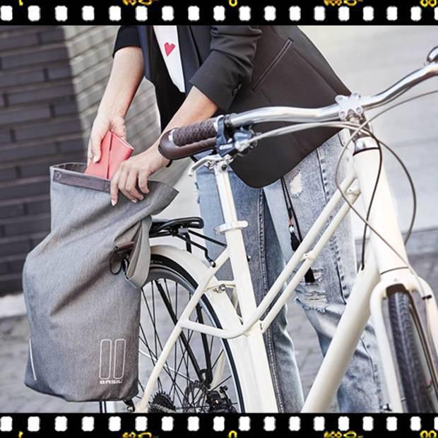 basil city shopper szürke biciklis táska biciklin