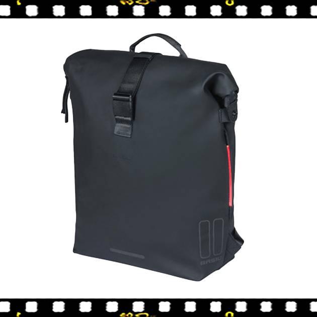 basil soho fekete biciklis hátizsák beépített villogóval