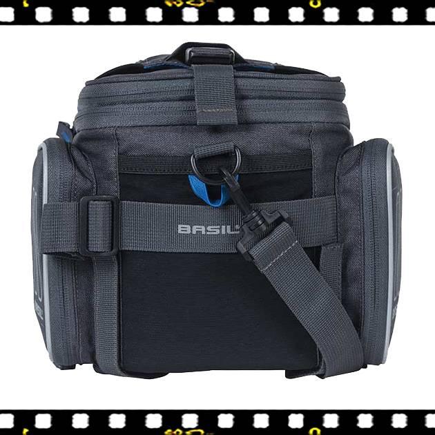 basil sport design szürke biciklis csomagtartó táska nyitva