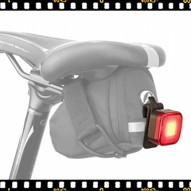author square usb-vel tölthető kerékpár lámpa táskán