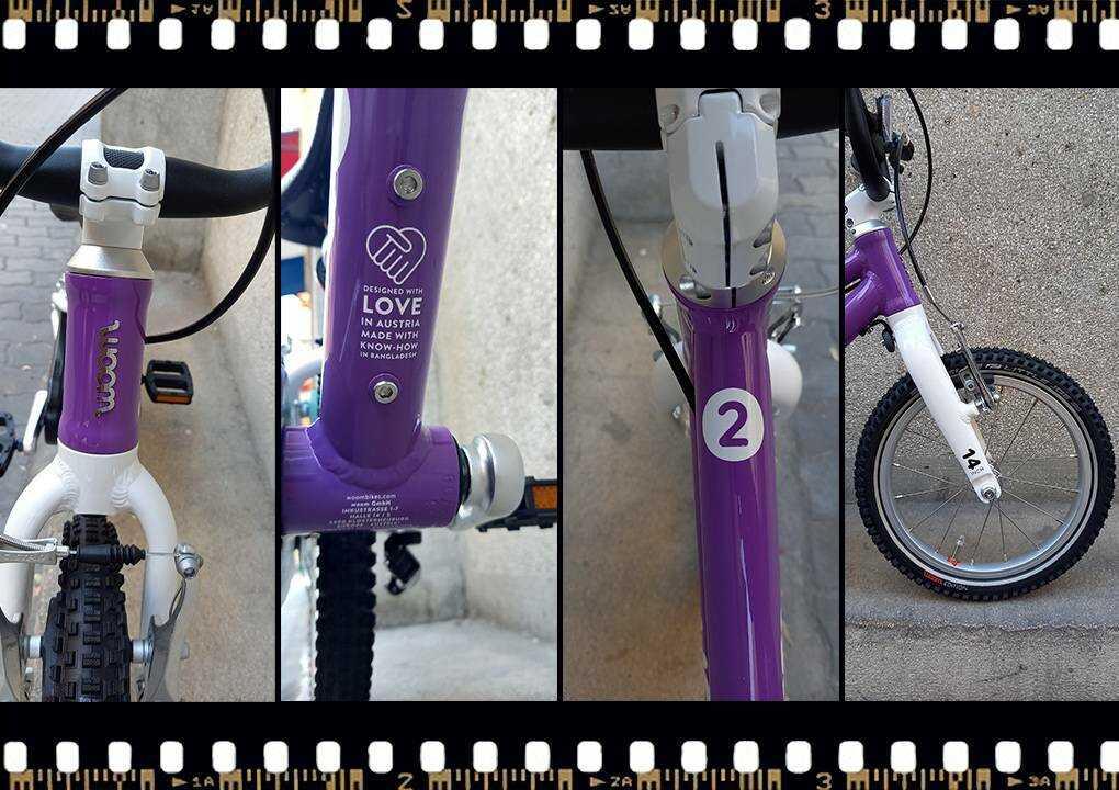 woom2 14-es méretű gyerek bicikli váz méret