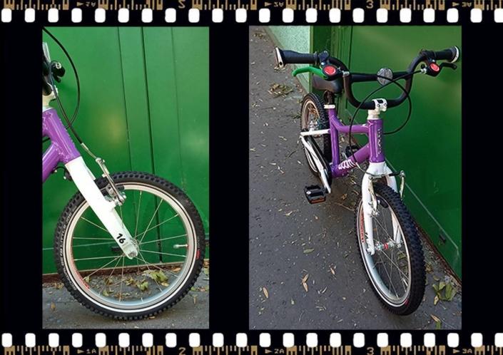woom3 16-os méretű gyerek lila kerékpár
