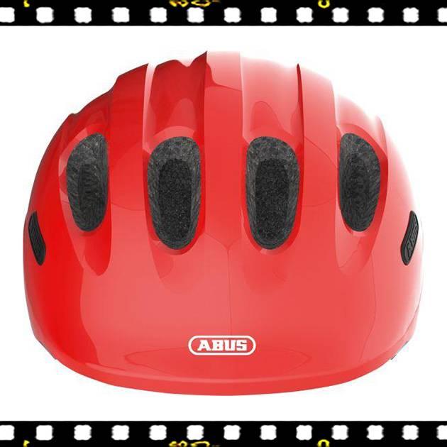 abus smiley 2.0 piros kerékpáros bukósisak elölről