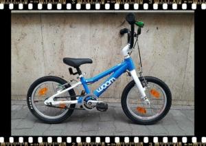 woom2 14-es méretű kék gyerek bicikli