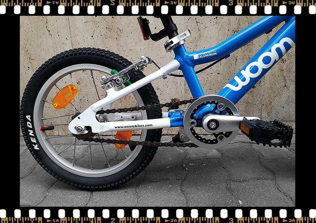 woom2 14-es méretű kék gyerek bicikli hajtómű