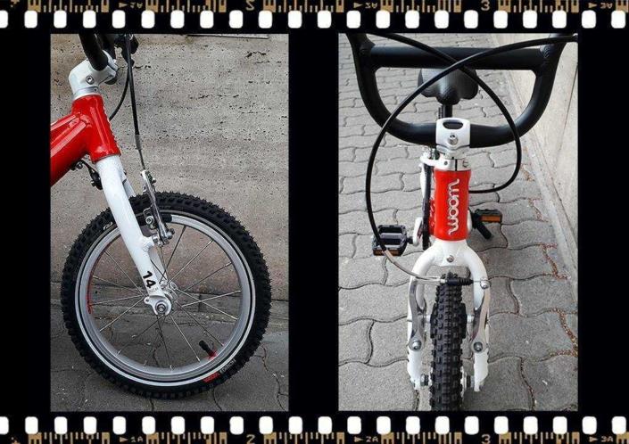 woom2 14-es méretű piros gyerek bicikli eleje