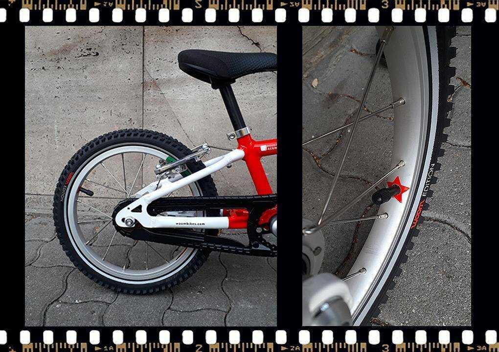 woom2 14-es méretű piros gyerek bicikli hátsó kerék