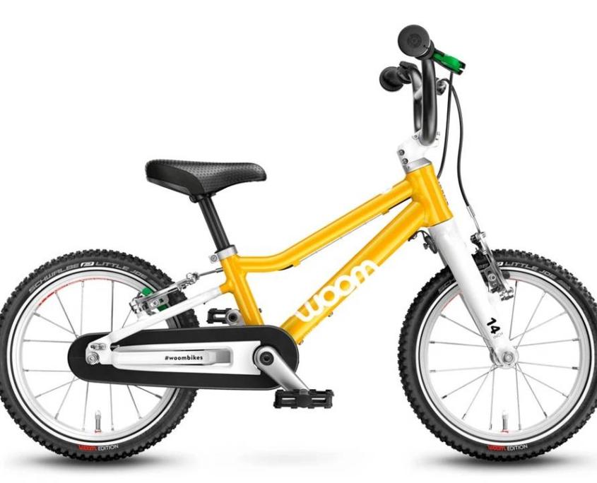 woom2 14-es méretű sárga gyerek bicikli