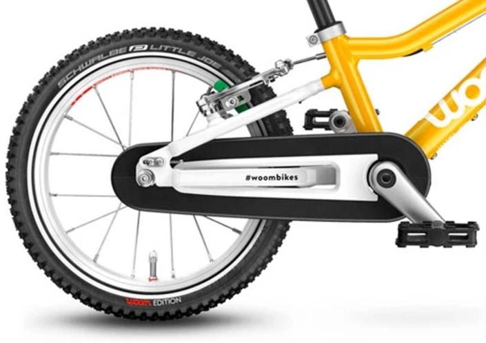 woom2 14-es méretű sárga gyerek bicikli hajtómű