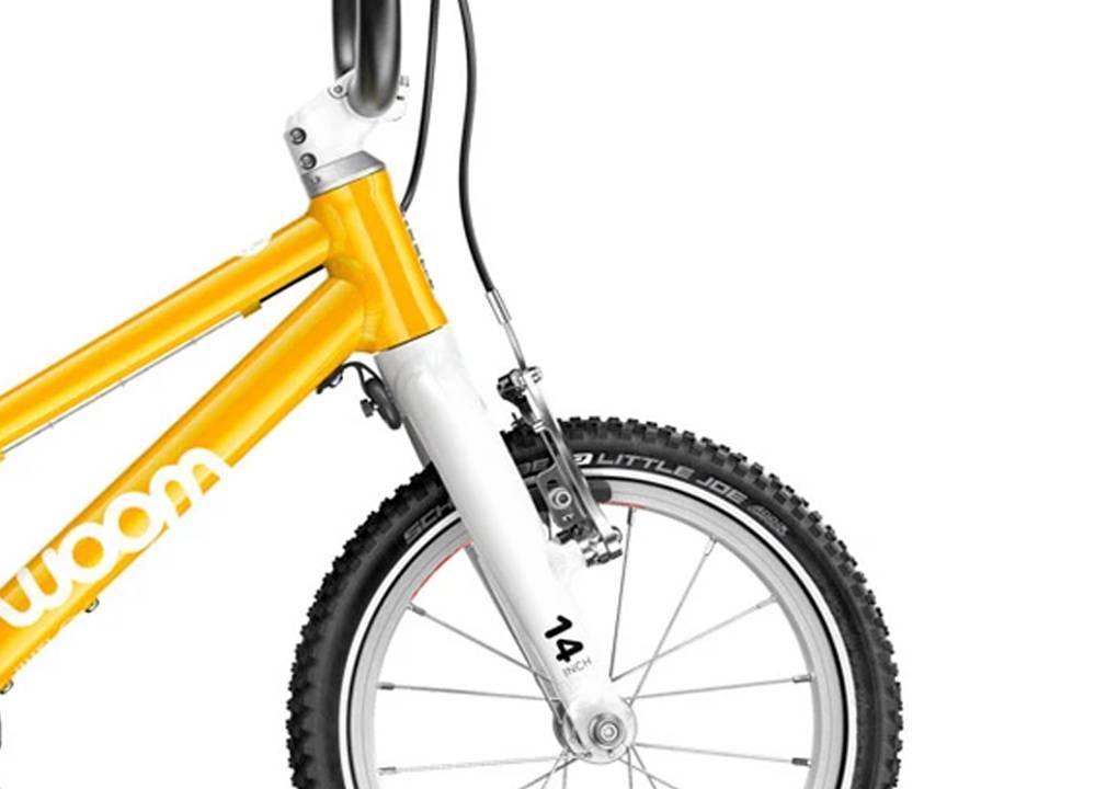 woom2 14-es méretű sárga gyerek kerékpár